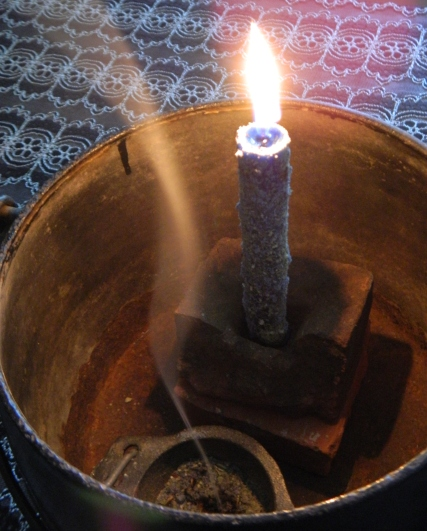 Candle And Incense Lit, Burning
