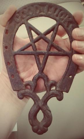 Antique Good Luck Horseshoe and Pentagram