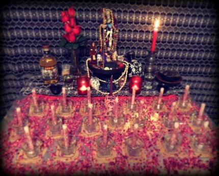 Unlit Santa Muerte Altar
